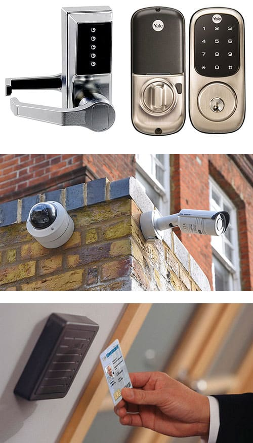 Image of various access control devices including commercial keypad locks (top), CCTV (middle), and key card access control systems (bottom).