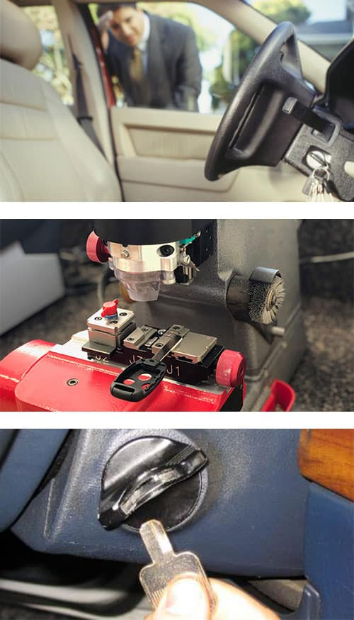 image of car lockout (top), a car key being cut on a laser cutter (middle), and a key that's broken off in the ignition lock (bottom).