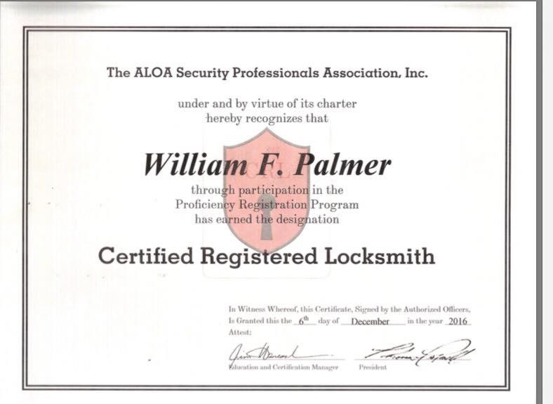 Image of William F. Palmer's ALOA Locksmith Certificate