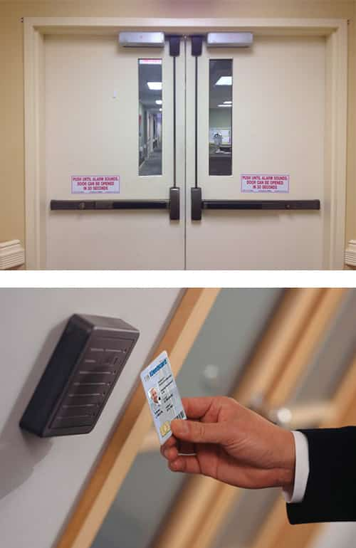 image of a commercial door with maglocks at the top and panic (crash) bars (top), and a key card access control system in an office building (bottom).