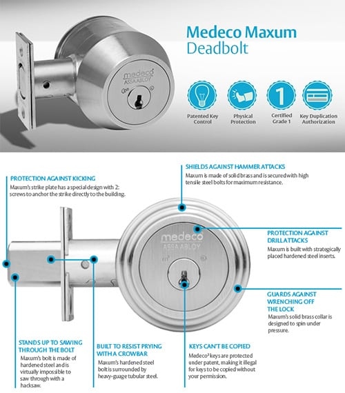 image of a Medeco High Security Deadbolt and a diagram of the product features
