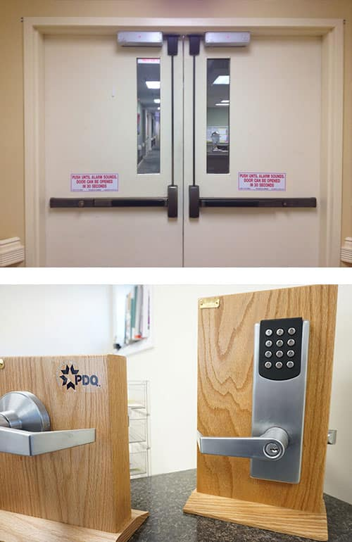 image of a commercial-grade door with maglocks and panic bars (top) and a commercial-grade door handle and keypad lock (bottom)