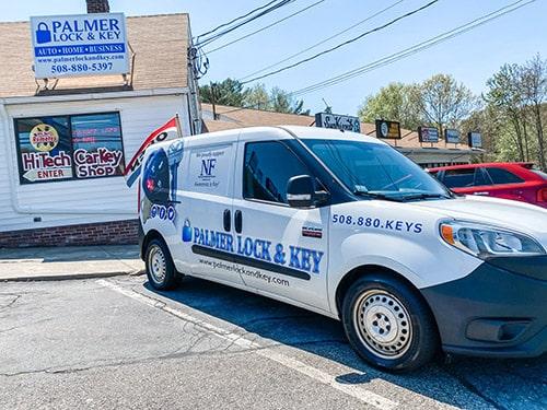 Palmer Lock & Key storefront and locksmith van